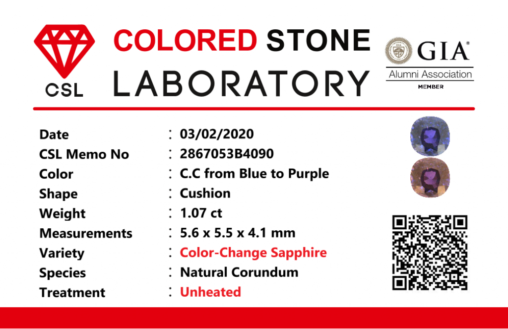 Natural Unheated Color Change Sapphire 1.07 CT CSL-2867053B4090